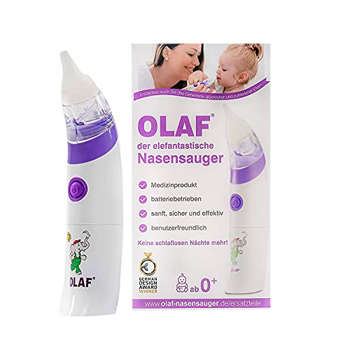 OLAF der elefantastische Nasensauger, elektrischer Babynasensauger, Kleinkind Sekretsauger, Nasenschleimentferner, Nasensauger Baby elektrisch, Medizinprodukt, Babynasenstaubsauger, ab der Geburt