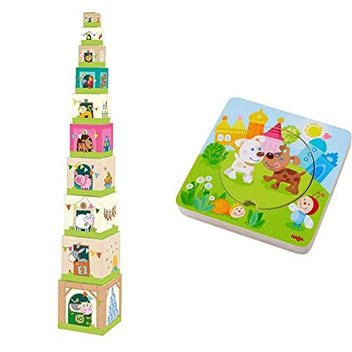 Haba 5879 - Stapelwürfel Auf dem Land, lustiges Stapelspiel für Babys ab 1 Jahr & Holzpuzzle Kunterbunte Tierkinder | Puzzlespaß in 5 Schichten | Stabile Holzteile mit bunten Tiermotiven