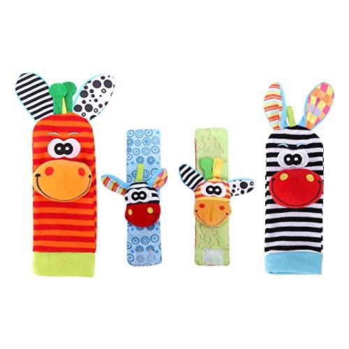4YANG Baby-Fußfinder & Handgelenksrasseln - Entwicklungsspielzeug für Babys Kleinkinder-Spielzeugsocken Baby-Handgelenksrassel Neugeborenes Spielzeug für Mädchen Jungen