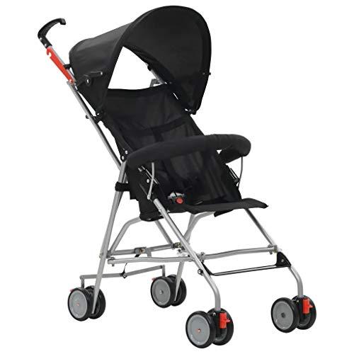 Kompakter und leichter Buggy, zusammenklappbarer Buggy aus Stahl, schwarz, für Kinderwagen