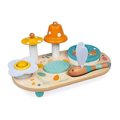 Janod - Pure Musiktisch mit 5 Funktionen - Kinder Spieltisch aus Holz - Musikalisches Holzspielzeug - Mit Zimbel, Glocke, Waschbrett und Tamburin - Baby Spielzeug ab 1 Jahr, J05164