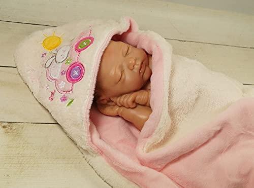 Babydecke mit Namen und Datum Bestickt - Baby Geschenke Geburt - süße Tiere - (Ecru - Rosa Hase)