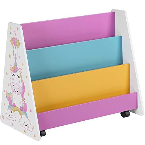 SONGMICS Bücherregal für Kinder, Bücher-Organizer, Kinderzimmerregal mit Rollen, Tafel und Ablagen, für Kinderzimmer, Spielzimmer, weiß, blau, pink, gelb und schwarz GKR075W01