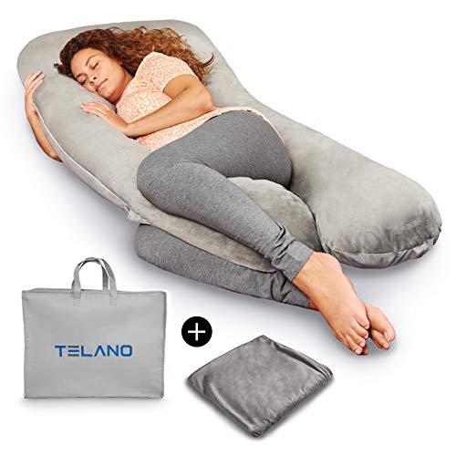 TELANO Premium XXL Schwangerschaftskissen Zweiter Bezug und Luxuriöse Aufbewahrungstasche Enthalten Stillkissen Grau Komfortkissen Seitenlagerungskissen Baby