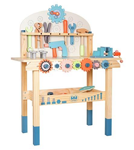 Labebe etabli Kinder Holz, Werkbank zum Basteln, Kinder, Spielnachbildung, mit Werkzeug und Zubehör, Spielzeug für Kinder ab 2 Jahren