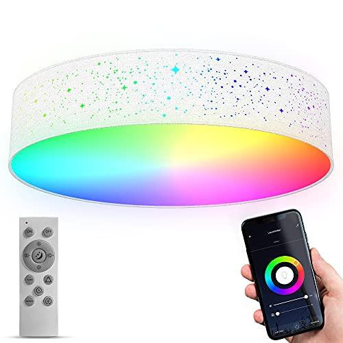 B.K.Licht WiFi LED-Deckenleuchte mit Stoff I smart I Ø49 cm I CCT I RGB I App und Fernbedienung I dimmbar I Sprachsteuerung I iOS & Android I Sternenhimmel