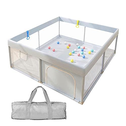 Tebinzi Baby Laufstall, Laufgitter mit atmungsaktivem Netz und Reißverschluss, Krabbelgitterfür Kinder im Innen- und Außenbereich Grau - große Sicherheitsspielplatz - 120x120cm (Grau)