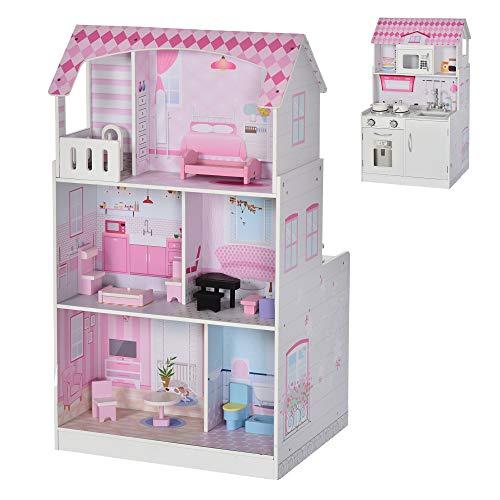 HOMCOM Kinder Puppenhaus und Kinderküche aus Holz 2-in-1 Spielküche Dollhouse 3 Etagen mit Möbel und Zubehör 3 Jahre+ Rosa Kiefer MDF 60 x 48 x 106 cm