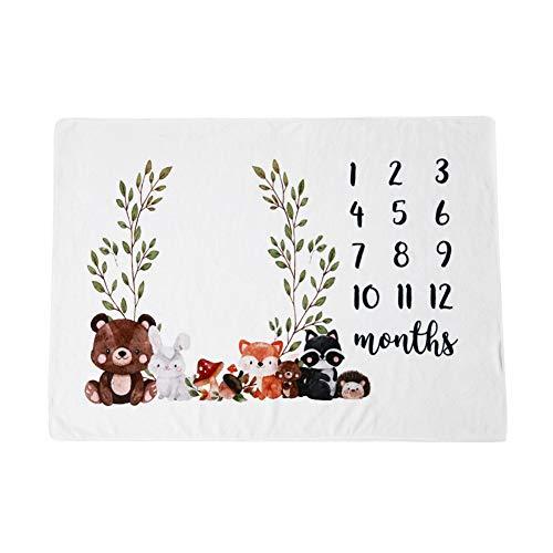Baby Monatliche Meilenstein Decke,MoreChioce Flanell Junge Mädchen Monatsdecke DIY Fotografie Requisiten Shoots Hintergrund Tuch Baby Swaddling Decke Fotografie Hintergrund Decke 100 * 75cm,Bär