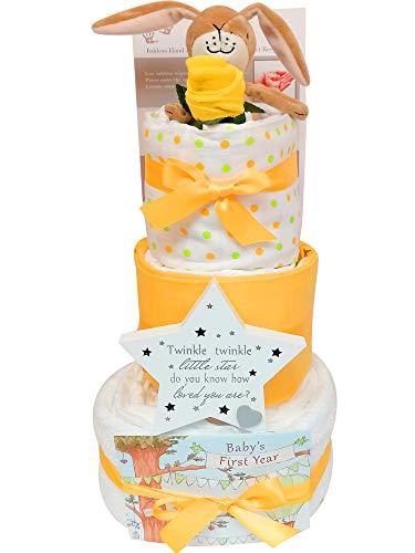 Geschenkset für Neugeborene, 3-stöckige Windeltorte, Geschenkkorb, ideal als Geschenk für Babyparty und als Geschenk für Eltern