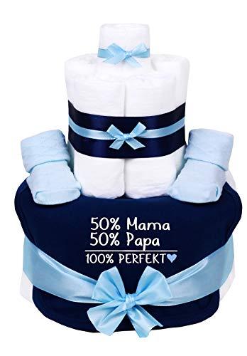 Trend Mama Sprüche Windeltorte blau-hellblau Junge-Babysocken + Babylätzchen handbedruckt -50% Mama, 50% Papa,100% Perfekt-