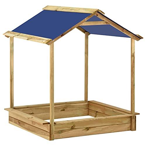 Tidyard Sandkasten mit Dach, Spielhaus mit Sandkasten aus Holz, Kinderspielhaus Spielhaus 128 x 120 x 145 cm
