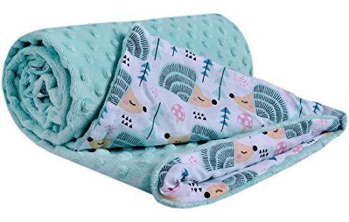 Krabbeldecke 100% Baumwolle 75x100cm doppelseitig multifunktional Minky Kuscheldecke für Kinderwagen weich flauschig (minze Igel mit minzer Minky)
