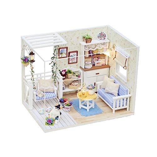 HSJWOSA Ergonomisch Holzpuppenhaus, DIY Holzpuppenhaus Möbel Puppenhaus Lernspielzeug Kinder Geburtstags-Geschenke Hervorragend
