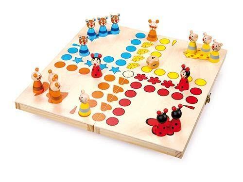 small foot 7358 Ludo 'Tiere' aus Holz, Gesellschaftsspiel für Groß und Klein, mit Tierchen-Spielfiguren, ab 4 Jahren