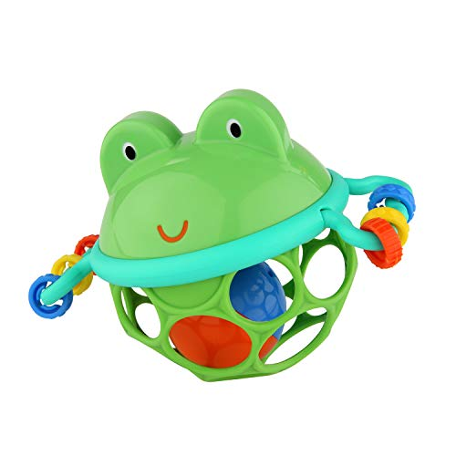 Bright Starts, Oball Jingle & Shake Pal, Frosch Greifball mit Glockenball, Greifring und Schiebekugeln im flexiblen, leicht greifbaren Design