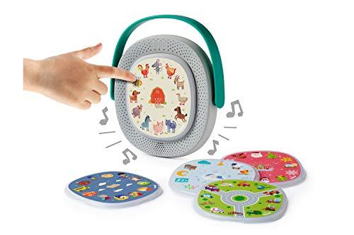 TIMIO TM02-02 Die Interaktive Und Lehrreiche Musikbox Bildschirm Ab 2 Jahren mit 5-Disc Starter Set, 8 Sprachen DE/ES/FR/IT/NL/CN/EN/BR-PT, Kinder
