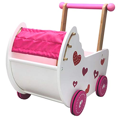 TikTakToo Puppenwagen Puppenmöbel Lauflernwagen Schiebewagen rosa/weiß