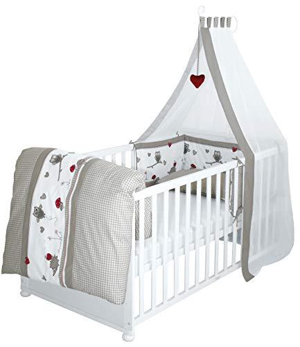 roba Komplettbett Set 'Adam & Eule', Babybett weiß inkl, Bettwäsche, Himmel, Nest, Matratze, Kombi Kinderbett 70x140cm umbaubar zum Junior Bett