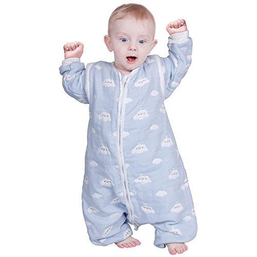 Lictin Schlafsack mit Füße Schlafsack Baby mit abnehmbaren Ärmeln für Säugling Kinder 1-3 Jahre alt von 75 bis 95 cm 100% Bio-Baumwolle 2.0 tog