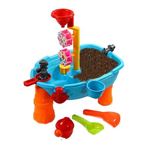 EXCLVEA Sand und Wassertisch Wassertisch-Sand- und Wasseraktivitäten Play-Tisch enthalten Zubehör-Scoops für Kinder mit 3 Jahren für Strand Garten (Farbe : Blau, Size : 51x48x32CM)