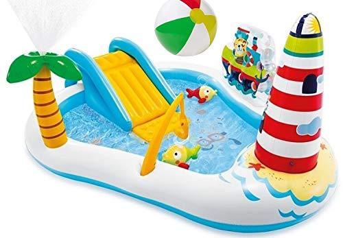 Aufblasbares Playcenter Wasserspielcenter mit Rutsche Leuchturm Palme Sprüher Spielcenter Wasserspielzeug Kinder-Spiel-Pool mit Wasserrutsche und Wasser Sprüher XL ab 3 Jahren Spielzeug für Garten
