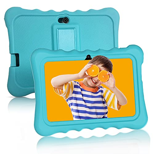 Kids Tablet Android 10 ANTEMPER 7 Zoll Tablets Lerntablet für Kids,2+32GB ROM/128GB(TF Karte),HD IPS Display,Quad Core,Kindersicherung,GMS Zertifiziert,WiFi Bluetooth,mit Kapazitivem Stift-Blau