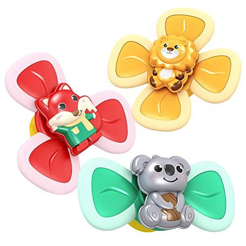 Bakermiche Baby Bad Spielzeug mit rotierenden Saugnapf 3 Stück Baby Cartoon Tier rotierende Saugnäpfe Esszimmerstühle Windmühle Learner Toys Badewannenspielzeug für Kleinkinder Jungen und Mädchen