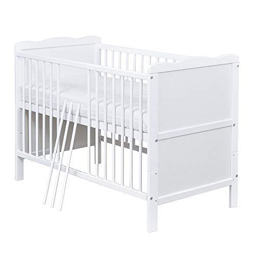 Baby Delux Babybett Kinderbett Juniorbett Max 120x60 Weiß umbaubar
