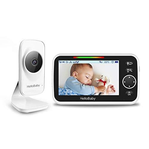 Babyphone mit Kamera, HelloBaby 5-Zoll-LCD-Babyphone, Nachtsicht, 300-Meter-Reichweite, Zwei-Wege-Audio, 2000-mAh-Akku, Temperatursensor, Crying Detection VOX, Ein-Klick-Zoomfunktion