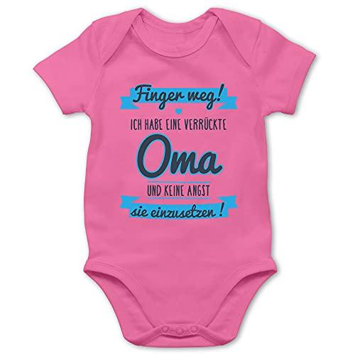 Shirtracer Statement Sprüche Baby - Ich Habe eine verrückte Oma grau/hellblau - 12/18 Monate - Pink - Statement - BZ10 - Baby Body Kurzarm für Jungen und Mädchen