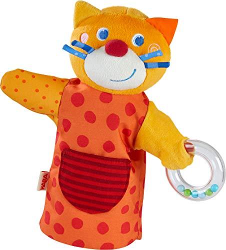 HABA 304928 - Klang-Handpuppe HABA-Musikant Katze, Spielpuppe aus weichen Materialien mit Rasselring für akustische Effekte, Spielzeug ab 18 Monaten