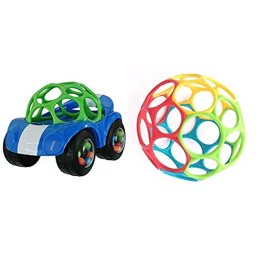 Oball, Spielzeugauto mit Rassel, 1 Stück, Farblich sortiert & Oball Classic - flexibles und leicht greifbares Design, für Kinder jeden Alters, Mehrfarbig