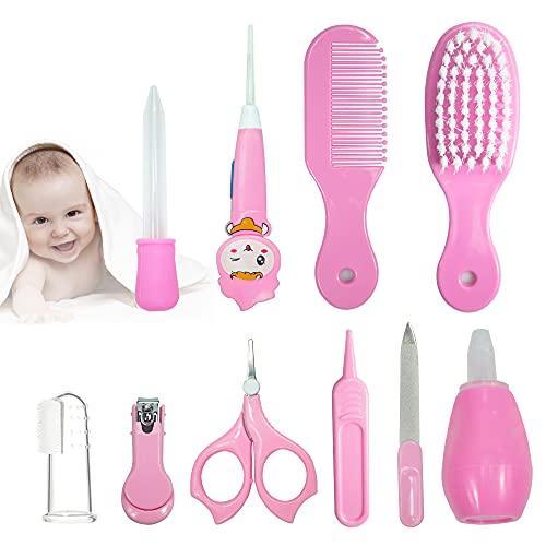 SHEANAON 10 Stück Babypflege Set Nasensauger LED-Ohrlöffel silikon finger Zahnbürste Säugling Gesundheit pflegeset, Rosa