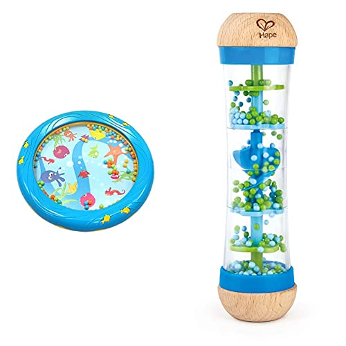 Musik für Kleine Meerestrommel Musikspielzeug für Kleinkinder und Babys ab 1 Jahr - 18 cm Durchmesser mit Fischapplikationen, blau & Hape E0328 - Blauer Regenmacher, Musikspielzeug