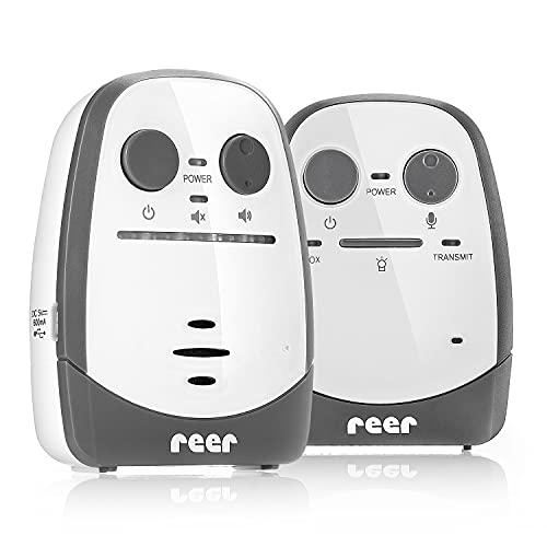 Reer Cosmo Babyphone vom Erfinder des Babyphone, mit Nachtlicht, Vibrations-Alarm und Gegensprechfunktion, weiß, 600m Reichweite, 50150