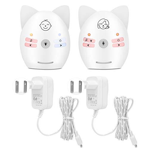 Digitales Babyphone, Babyphone Tragbares Drahtloses Zwei-Wege-Audio-Babyphone mit Nachtlicht für Babys(Europäische Stromversorgung)