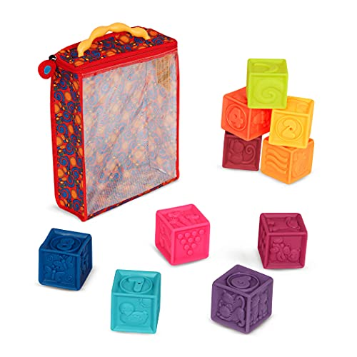 B. toys Baby Spielzeug Weiche Bauklötze, Bausteine Motorikspielzeug, Lernspielzeug, Stapelwürfel mit Zahlen und Tieren für Babys ab 6 Monate (10 Teile)