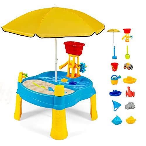 COSTWAY 2-in-1 Sand- und Wasserspieltisch mit Sonnenschirm, 18 teiliger Sandkastentisch für Kinder, Kinderspieltisch, Strandspielzeug-Set, Sandkasten Spielzeug (Mit Sonnenschirm)