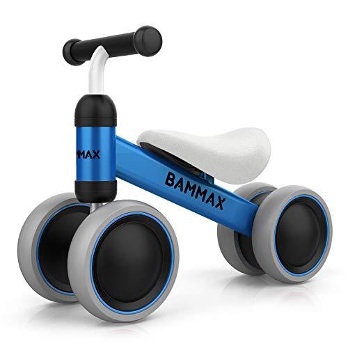 Bammax Kinder Laufrad Lauflernrad Balance Fahrrad ohne Pedale Dreirad Spielzeug für 1 Jahr, Erstes Baby Laufrad für Jungen Mädchen, Empfohlenes Alter: 10-24 Monate, Blau