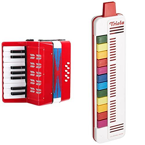 Classic Cantabile Bambino Rosso Kinder Akkordeon, Rot (ab 3 Jahre, 17 Noten Tasten, 8 Bässe) & SEYDEL Triola 12 | Blasharmonika mit 12 Tönen inkl. Spielanleitung mit Liedbeispielen