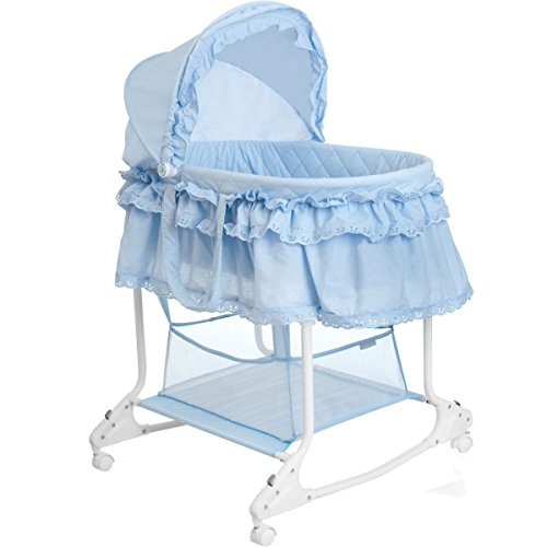 Babywiege/Stubenwagen mit Schaukelfunktion (Abnehmbarer Babykorb) (Hellblau)