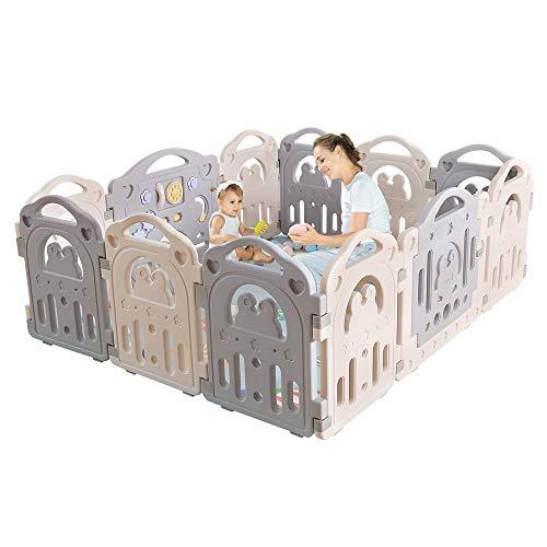 Yoleo Laufgitter 'Pinguin', aus HDPE-Material, BPA-frei, Groß Spielgitter 192 x 162 x 68,5 cm, Laufstall 4-eckig, kein Schrauben erforderlich, Baby Krabbelgitter, mit Tür, grau&weiß