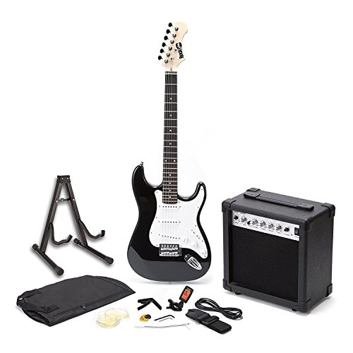 RockJam voller Größe E-Gitarre Superkit mit Gitarrenverstärker Gitarrensaiten Gitarrentuner Gitarrengurt Gitarrenkoffer und Kabel schwarz