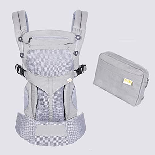 Ergonomischer 360 ° Bester Baby-weicher Träger, verstellbare Taille, mit Hüftsitz, atmungsaktiver Stil Huglightweight (0-20kg),Light Gray