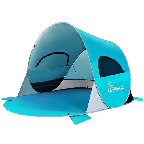 WolfWise Pop Up 3-4 Personen Strandmuschel, UPF 50+ UV Schutz Familien Baby Strandzelt Sonnenschutz Schirm, Selbstaufbauend Tragbar Blau