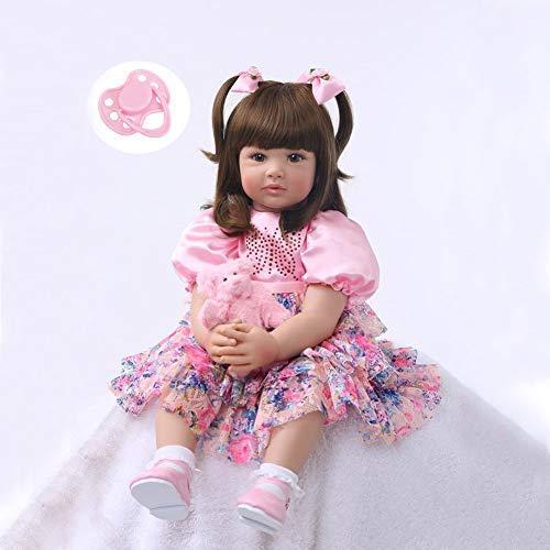 GPWDSN 60 cm weiches Silikon lebensechte Babypuppe Neugeborene Puppen braunes Auge mit rosa Blumen Prinzessin Kleid
