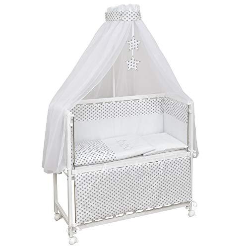 Baby Delux Beistellbett Little Stars Stubenwagen mobil Babybett Holz weiß 90x40cm inkl. Matratze und Komplett Bettset mit Stickerei