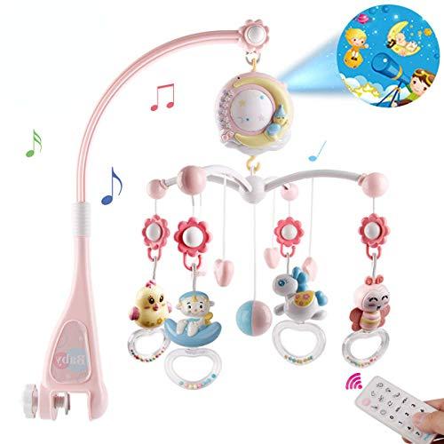 BabyMobilefürBabybettenmitMusik,CribMobilemitNachtlichtundProjektor,FernbedienungundSpielzeugzumPackenundSpielen(Rosa)