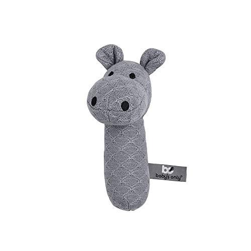 BO BABY'S ONLY - Baby Rassel Nilpferd - Babyspielzeug 0+ Monate - Aus Holz - Mit gestricktem Stofftier - Grau